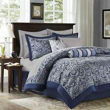Queen Cal King Bed Bag Navy Blue Silver Paisley 12pc Comforter Sheet Set Bedding