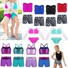 Girl Sequin Modern Dance Crop Top Kid Party Jazz Hip Pop Shorts Bottom Dancewear