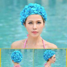 Women Ladies Super Stretchy Floral Flower Petal Swimming Cap Bathing Hat Adult