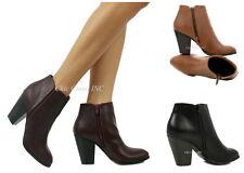 Women Ankle Cowboy High Heels Short Stacked Almond Toe Chelsea Mid Booties Zip
