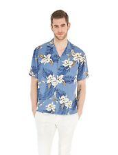 Made in Hawaii Men Aloha Hawaiian Shirt Premium Rayon Blue Floral Orchid