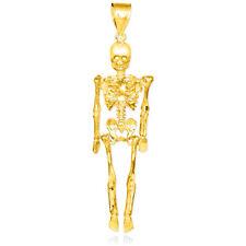 Solid Yellow Gold Diamond-Cut Dangling Gothic Death Skeleton Pendant Halloween