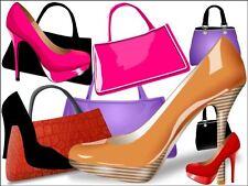 Sac à main et chaussures Gâteau / Cupcake Toppers-designer décorations sur Papier Riz Gaufrette
