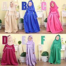 Muslim Girls Abaya Dress Scarf Islamic Kids Lace Kaftan Hijab Arab Childer Robe