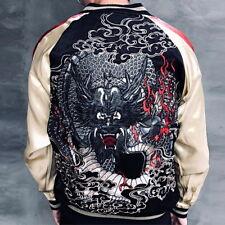 Mens Souvenir Jacket Sukajan Japanese Pattern Embroidery REVERSIBLE Black Dragon