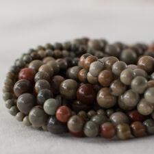 Grado a natural jaspe piedras preciosas redonda granos de plata Mist - 4 mm 6 mm 8 mm