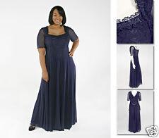 NEW!  Zaftique BACCARA Dress Gown NAVY Blue 1Z 3Z / 16 24 / XL 1X 3X