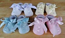 Baby WHITE CREAM BLUE PINK Soft Sole Pram Shoes Ribbon Christening 0-3-6-12 mth