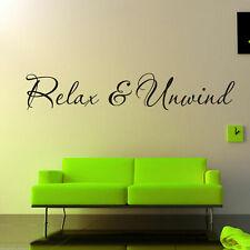 RELAX e UNWIND Wall Art Adesivo Salotto Sala Preventivo Murale Decalcomania Trasferimento Stencil