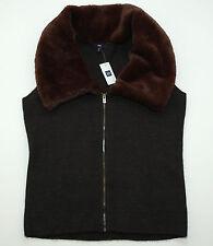 NWT GAP Faux Fur Vest dark gray brown fur size M