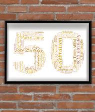 Personalised 50th Birthday Gift - Golden Wedding Anniversary Gift Word Art Print