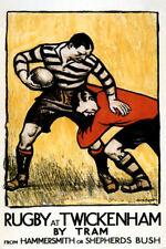 Rugby Football Twickenham EnglanEnglish Sport UK Vintage Poster Repro FREE S/H