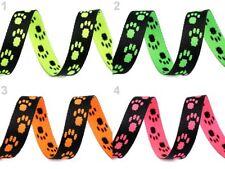 Gurtband 15mm mit Hundemotiv für Halsband & Leine Tatzen Pfoten Hund Pfötchen