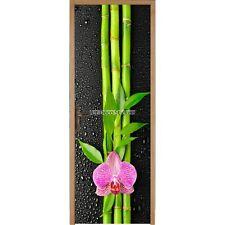 Stickers porte déco Bambou Orchidée réf 311 311