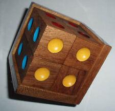 Crazy 6 wood Brain Teaser puzzle - arrange 8 cubes so same color on each side