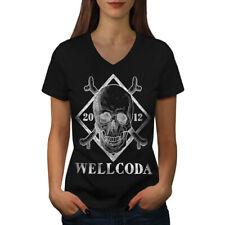 OSSO Scheletro Teschio Rock Donna V-Neck T-shirt Nuove   wellcoda