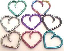 16g ~PERFECT NIOBIUM HEART ~ Tragus Cartilage Daith Orbital Earring ~NICKEL FREE