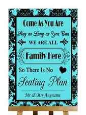 Tiffany Blue Black Damask No Seating Plan Personalised Wedding Sign