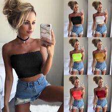 Women Off Shoulder Tube Tops Bra Blouse Strapless Bandeau Crop Top Shirt Exquisi