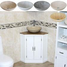 Off White Painted Bathroom Vanity Unit Oak Top Corner Cabinet & Marble