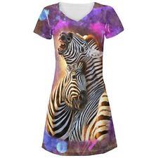 Zebra Lovers Splatter Juniors V-Neck Beach Cover-Up Dress