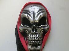 Pirata Teschio Maschera Halloween Costume Maschera Viso Scheletro Horror ARGENTO ROSSO NUOVA