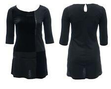 WOMENS SIZE 14 16 18 20 BLACK PONTE & VELVET DRESS BEAD DETAIL EX STORE BNWT