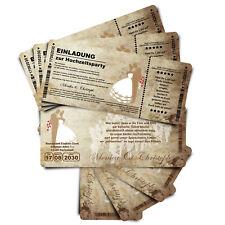 Einladungskarten Hochzeit - Ticket mit Abriss-Coupon