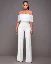 Elegante raffinato abito tuta intera smanicato pantalone bianco slim 3625