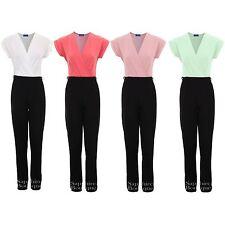 Women's Wrap Front Low V Neck Crepe Contrast Turn Up Cap Sleeve Ladies Jumpsuit