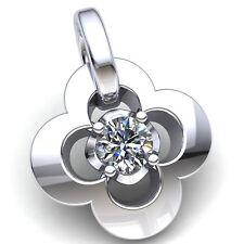 0.4carat Round Cut Diamond Ladies Fancy Flower Solitaire Pendant 10K Gold
