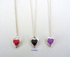 """Corazón de plata plateado medallón con centro de color en el 16"""" 18"""" 20"""" Cadena de Plata Plateado"""