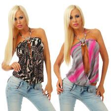 Sexy Damen Bluse Top Ärmellos Neckholder Rückenfrei Schulterfrei Sommer Strand