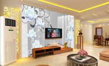3D Flowers White Bubble Wall Paper Wall Print Decal Wall AJ WALLPAPER CA