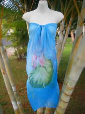 Sheer Sarong Hawaii Pareo BLUE PINK LOTUS Beach Skirt Coverup Cruise Wrap Dress