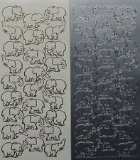 Elephants Outline PEEL OFF STICKERS Safari Cardmaking