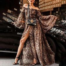 Abendkleid Partykleid Leopard schulterfrei Clubwear Maxikleid Ballkleid BC640