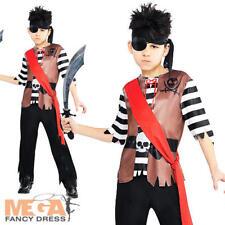 Ahoy Pirate Captain Boys Fancy Dress Buccaneer Shipmate Book Week Kids Costume