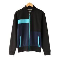 Men's Cotton Long Sleeve Track Jacket Zip up Color Block Coat S M L XL