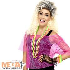 Neon Pink Fishnet Top Ladies Fancy Dress 1980s Celebrity Womens Costume Acc New