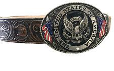 Beautiful USA Buckle and American Eagle Design Handmade Mens Leather Belt