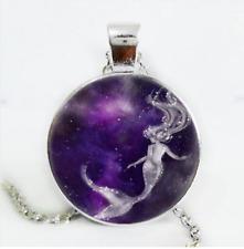 Mermaid Photo Cabochon Glass Silver/Black/Bronze Chain Pendant Necklace#6