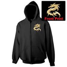 Hooded Zipper Sweat Shirt, Black, Metallic Gold Dragon, Black Gildan Heavy S-3XL