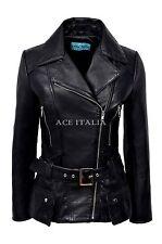 ' FEMININE' Ladies Leather Jacket Black Waist Belt 100% SOFT Real Leather 2812