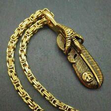 XL Collier byzantin plume Capteur de rêves indien pendentif doré GRIFFE