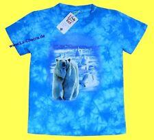 T-Shirt blau, Eisbär Arktis, Gr.86*92, 122*128, Eisscholle Polarmeer Polar Bear