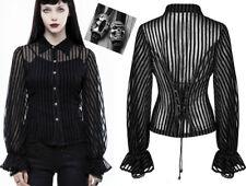 Chemise steampunk gothique victorien rayure corset crâne voilage mode Punkrave N
