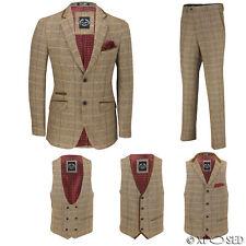 Para hombre Traje de 3 piezas de verificación Marrón Herringbone vende por separado Chaqueta pantalones chaleco