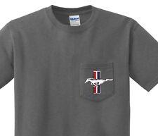 Pocket t-shirt men's Ford Mustang design pocket tee for men dark gray shirt