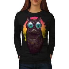 Hipster Glasses Cool Cat Women Long Sleeve T-shirt NEW | Wellcoda